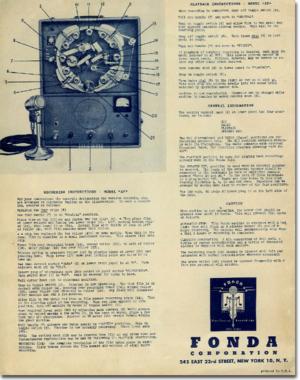 picture of Phantom's Fonda Cellophane recorder brochure from 1944