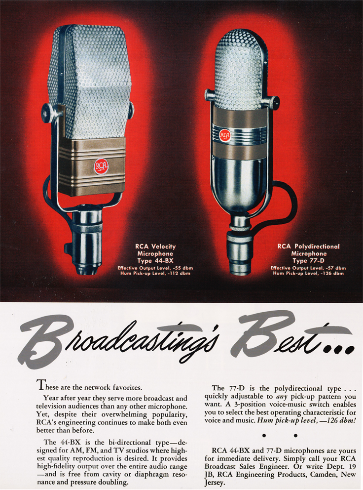1945 ad for the RCA 44BX and 77D microphones in Reel2ReelTexas.com's vintage recording collection