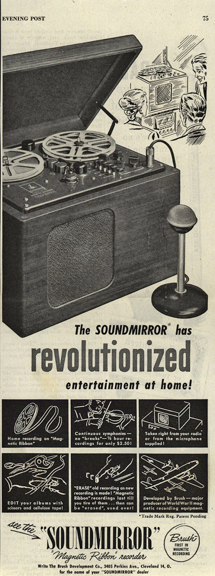 1946 ad for the Brush Soundmirror  in Reel2ReelTexas.com's vintage recording collection