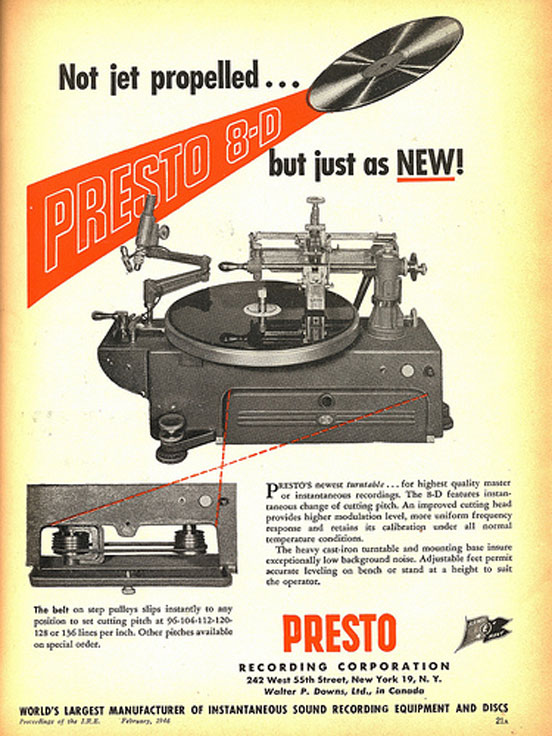 1946 ad for Presto Disc recorders in the Museum of Magnetic Sound Recording