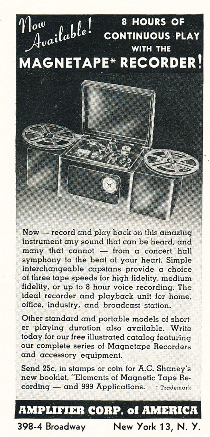 1947 ad for Amplifier Corporation of America's reel to reel tape recorder in Reel2ReelTexas.com's vintage recording collection