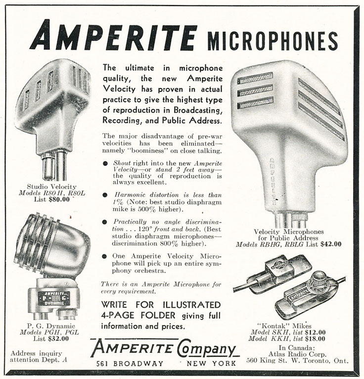 1947 ad for Amperite mics in Reel2ReelTexas.com's vintage recording collection