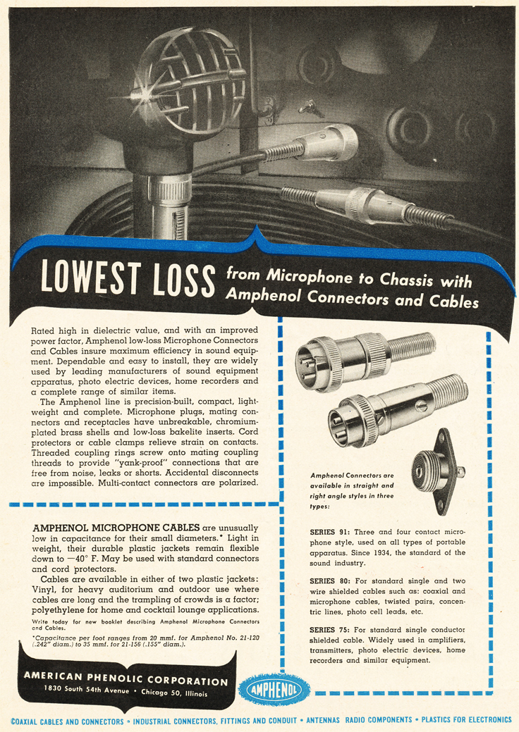 1947 ad for Amphonel products  in Reel2ReelTexas.com's vintage recording collection