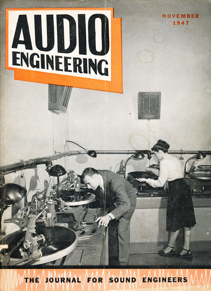 1947 November Audio Engineer magazine cover in Reel2ReelTexas.com's vintage recording collection