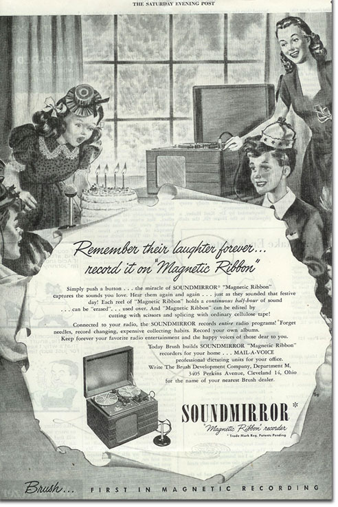 1947 Brush reel tape recorder ad from the 1947 Saturday Evening Post magazine in Reel2ReelTexas.com's vintage recording collection