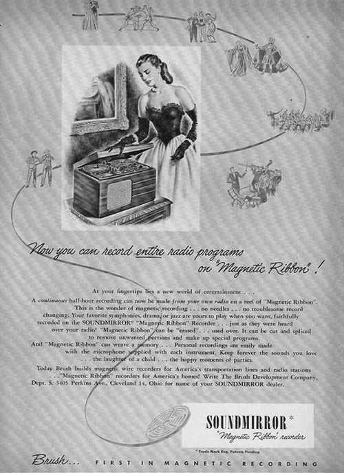 1947 Brush Sound Mirror ad in phantom Productions vintage  reel tape recorder collection