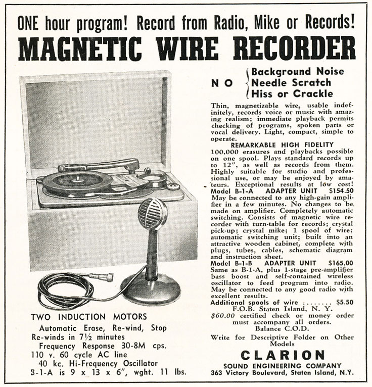 1947 Clarion wire recorder ad in Reel2ReelTexas.com's vintage recording collection