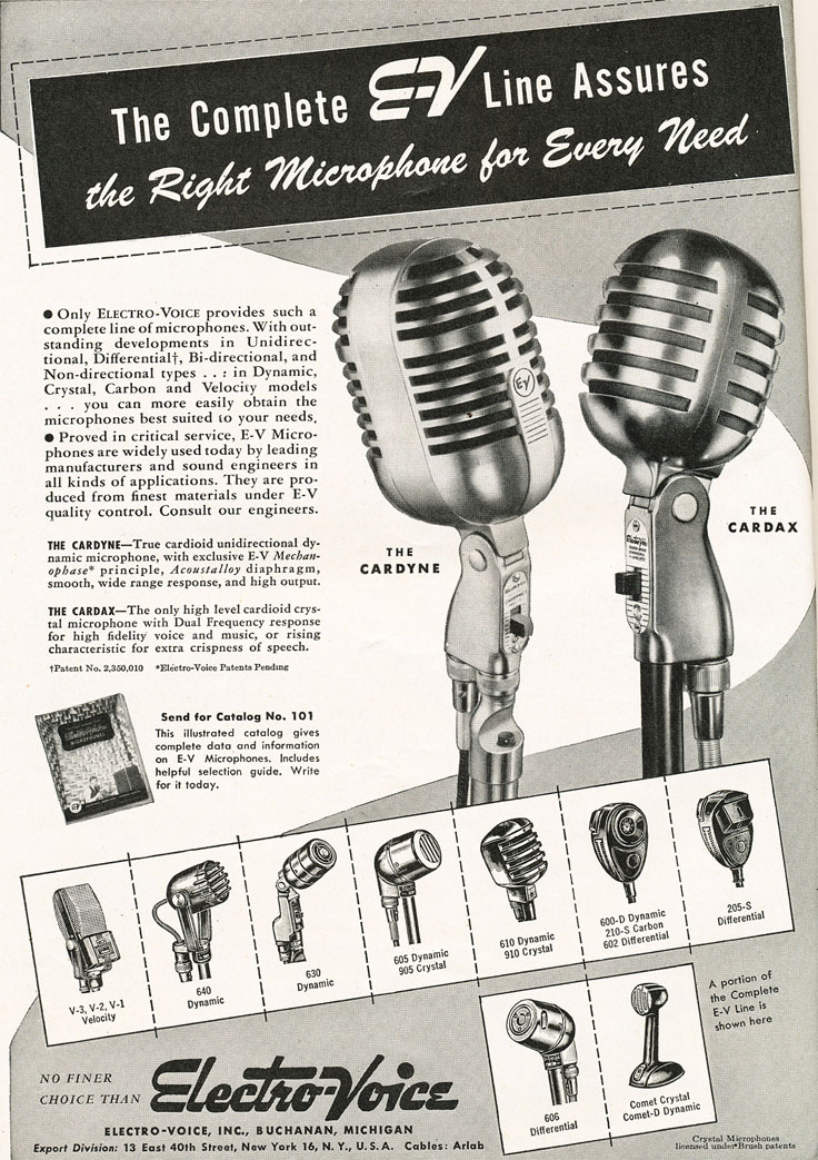 1947 ad for the Electro Voice Cardyne & Cardax microphones  in Reel2ReelTexas.com's vintage recording collection