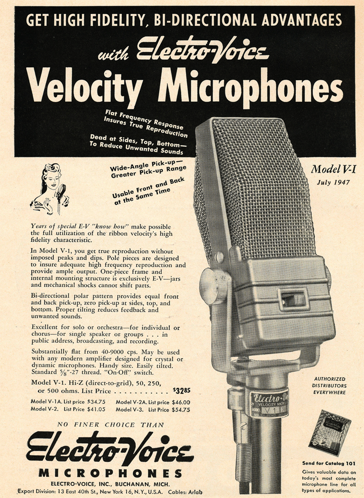 1947 ad for the Electro Voice V-1 microphone  in Reel2ReelTexas.com's vintage recording collection