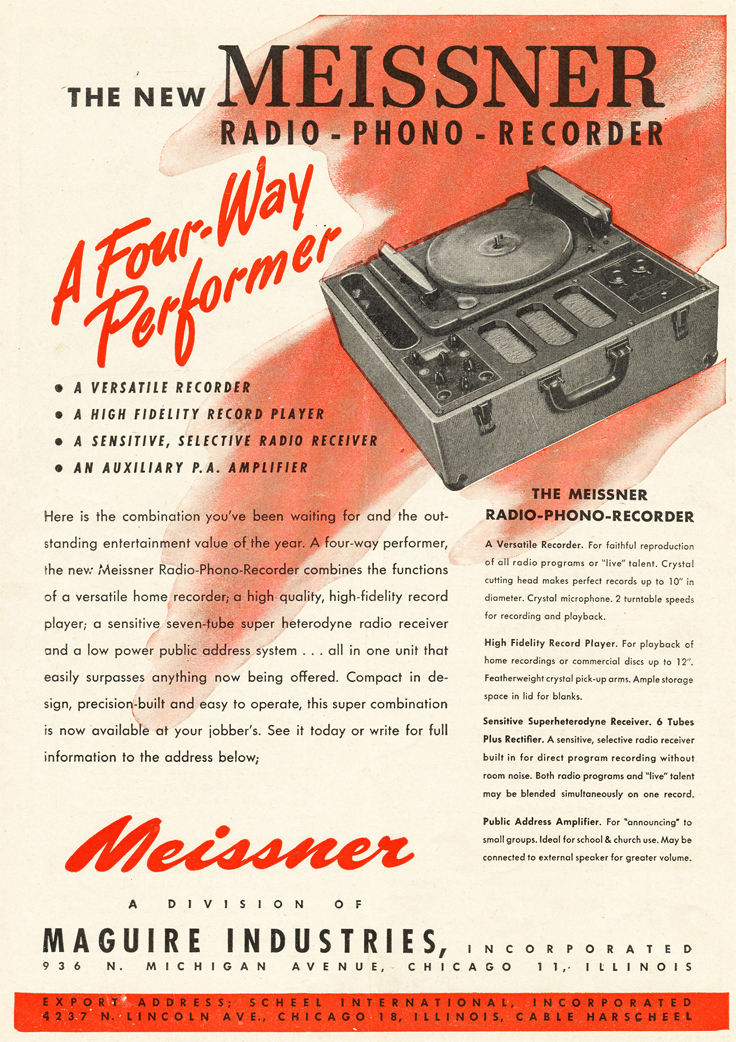 1947 ad for the Meissner recorder  in Reel2ReelTexas.com's vintage recording collection