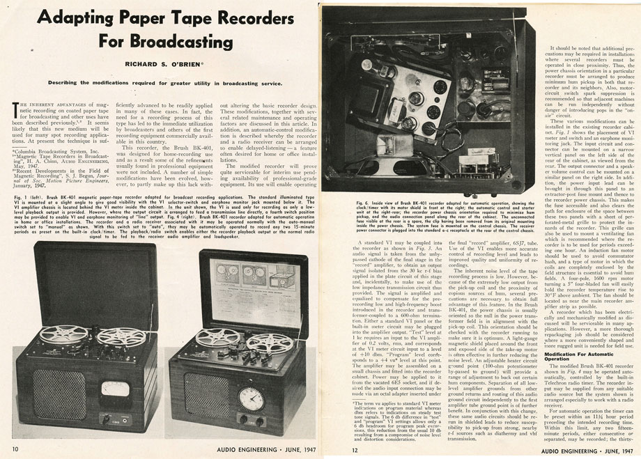1947 article on using paper backed tape for broadcast in Reel2ReelTexas.com's vintage recording collection
