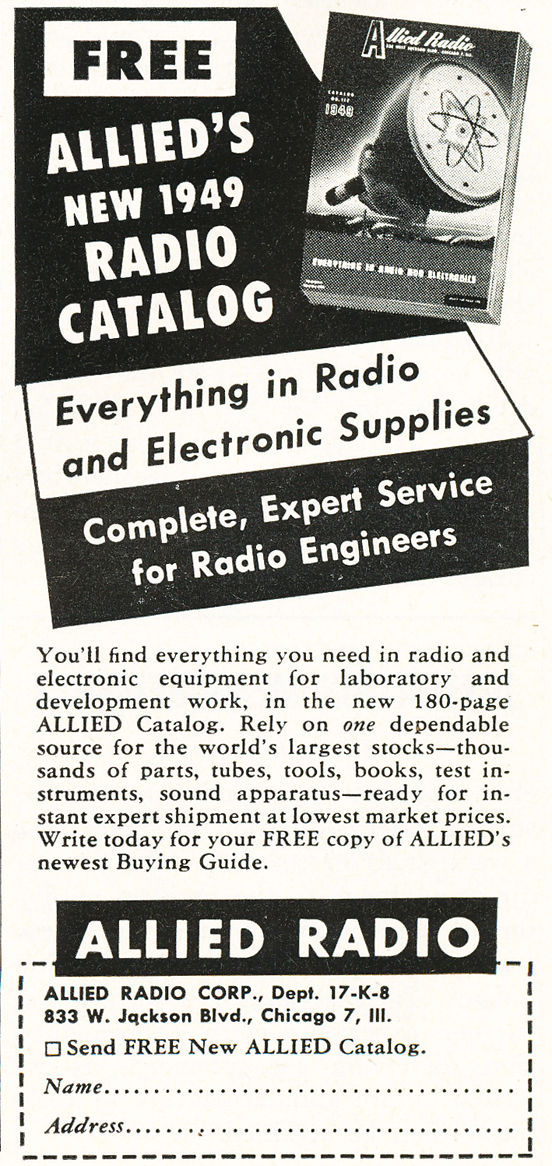 1948 ad for the Allied Radio catalog in Reel2ReelTexas.com's vintage recording collection