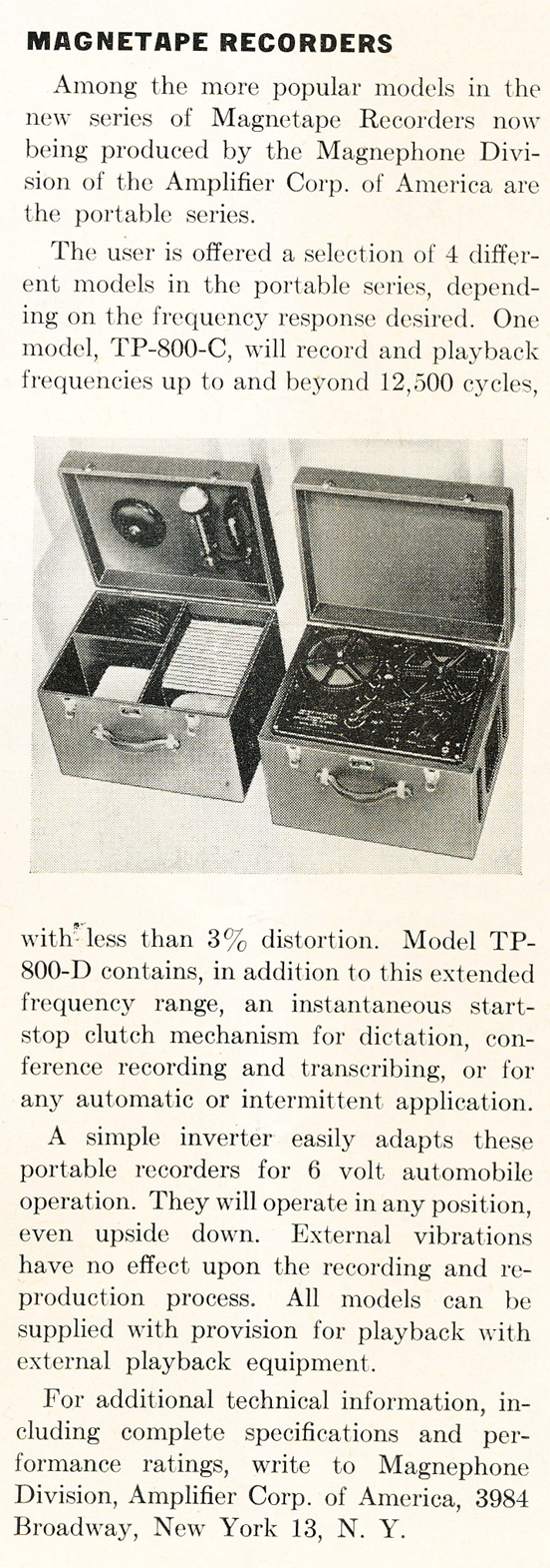 1948 review of tape recorders by the Amplifier Corporation of America in Phantom Productions' vintage recording collecction