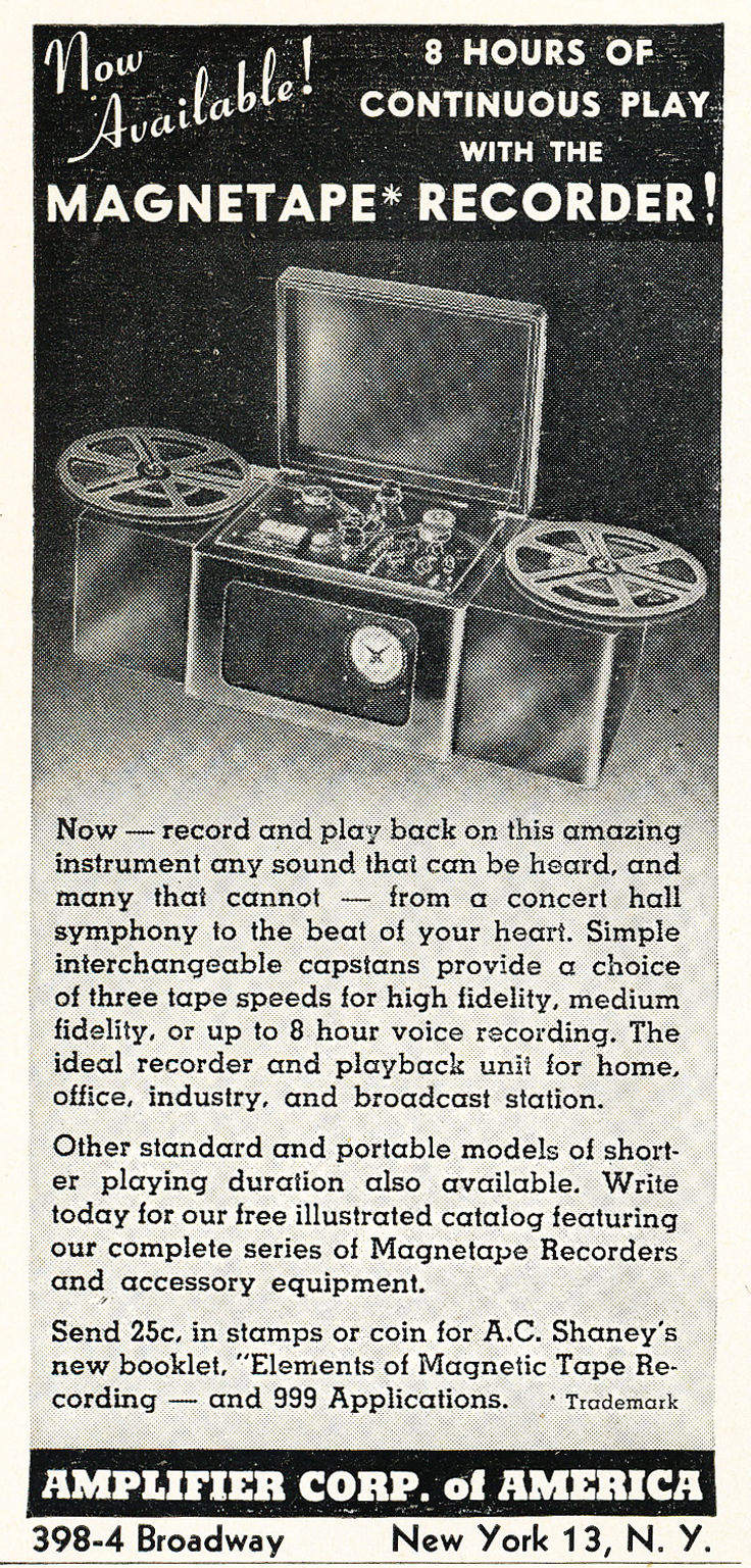 1948 ad for the Amplifier Corp of Ameica's continous play reel to reel tape recorder in Reel2ReelTexas.com's vintage recording collection