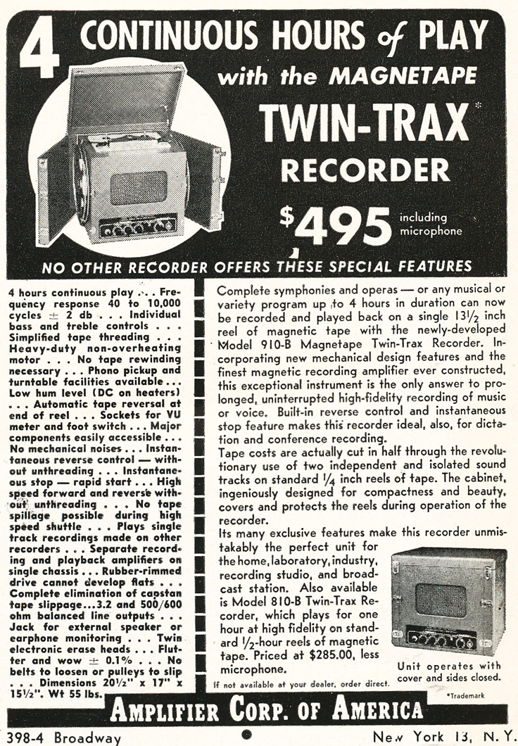 1948 ad for the Amplifier Corp of Ameica' Twin Trax recorder in Reel2ReelTexas.com's vintage recording collection