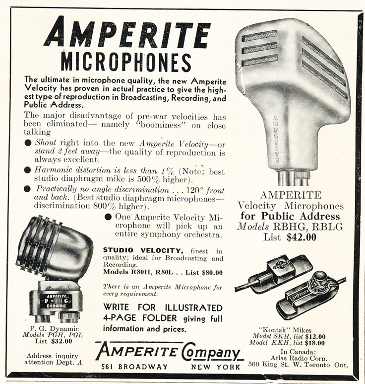 1948 Amperite microphone ad  in Reel2ReelTexas.com's vintage recording collection