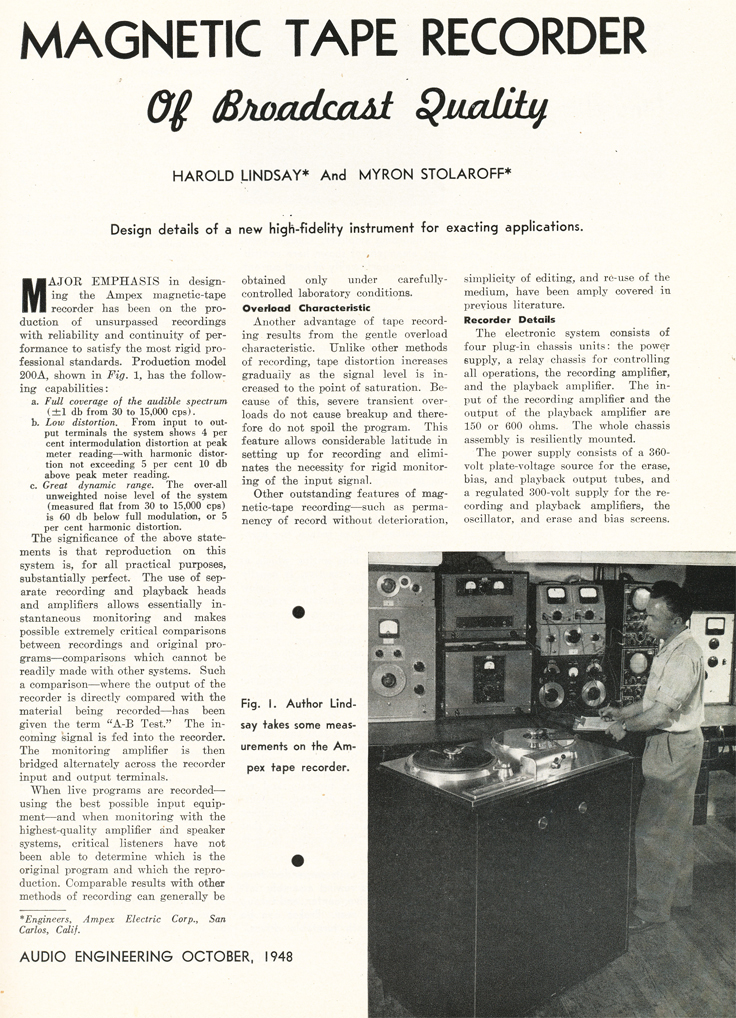 Page 1 of the October 1948 Audio Engineering magazine review of the new Ampex 200A professional reel to reel tape recorder in Reel2ReelTexas.com's vintage recording collection