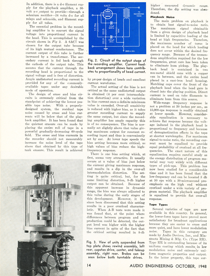Page 2 of the October 1948 Audio Engineering magazine review of the new Ampex 200A professional reel to reel tape recorder in Reel2ReelTexas.com's vintage recording collection