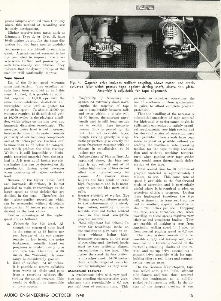 Page 3 of the October 1948 Audio Engineering magazine review of the new Ampex 200A professional reel to reel tape recorder in Reel2ReelTexas.com's vintage recording collection