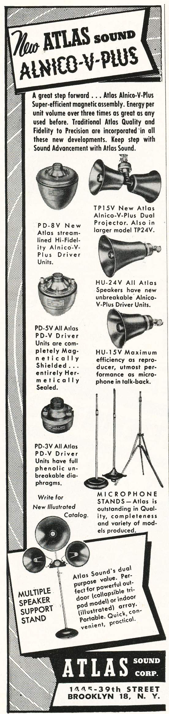 1948 ad for Atlas microphone stands