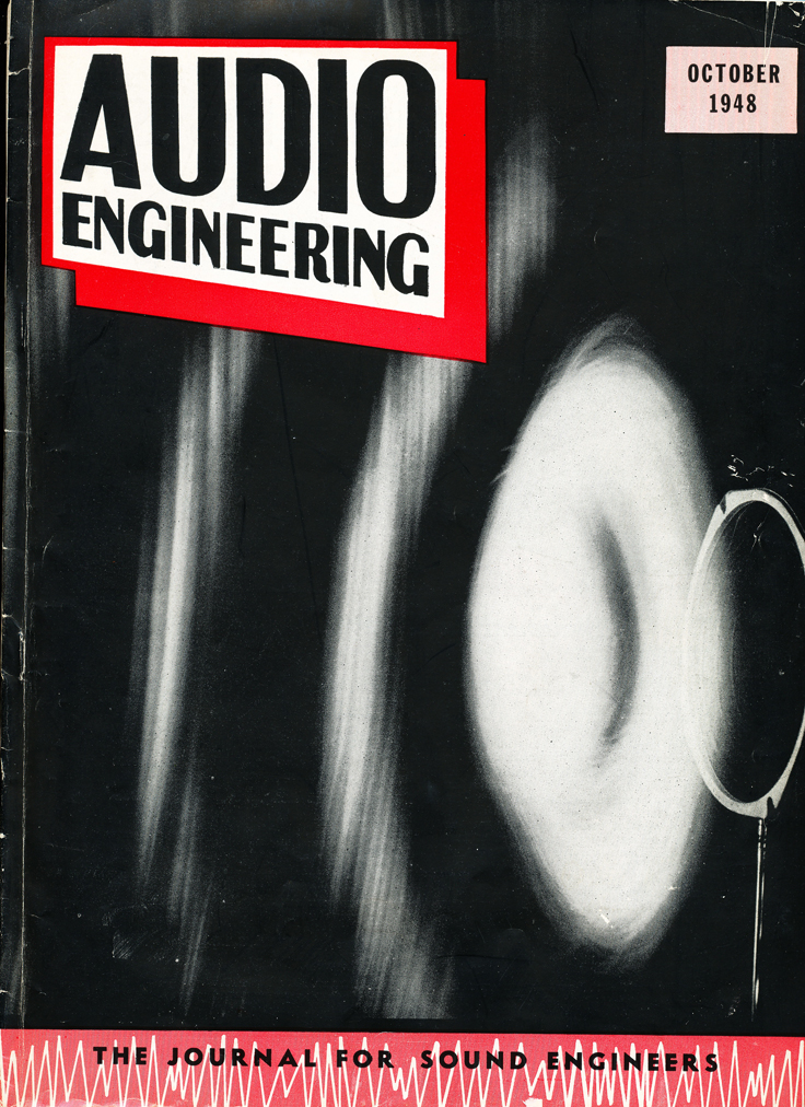 October 1948 cover of the Audio Engineering magazine in   Reel2ReelTexas.com's vintage recording collection