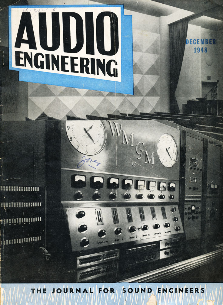 December 1948 Audio Engineering magazine cover in Reel2ReelTexas.com's vintage recording collection