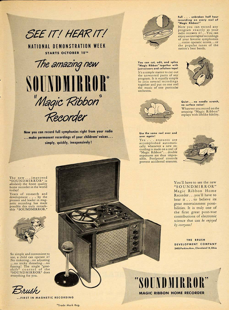 948 ad for the Brush reel to reel tape recorder in Reel2ReelTexas.com's vintage recording collection