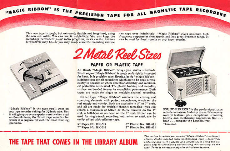 "1948 Brush Development Company ad for their Brush ""Magic Ribbon"" BK401 reel tape recorder in Reel2ReelTexas.com's vintage recording collection"