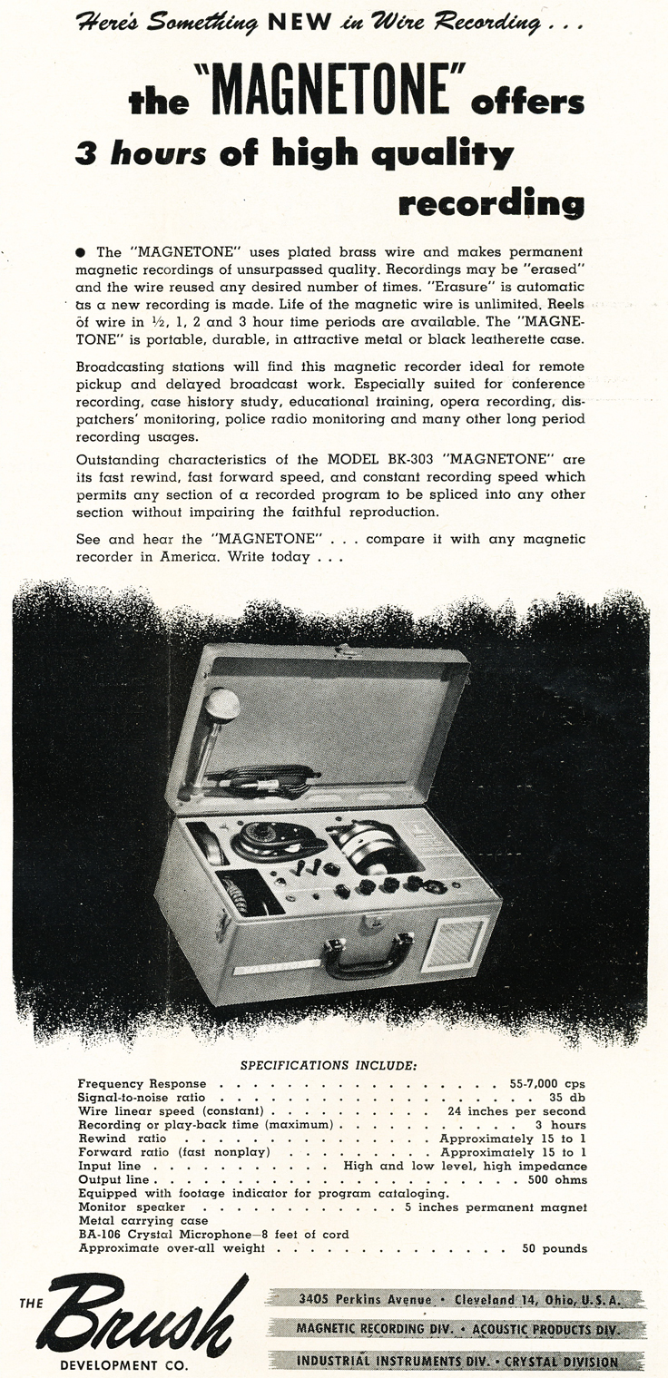 948 ad for the Brush Magnetone wire recorder in Reel2ReelTexas.com's vintage recording collection