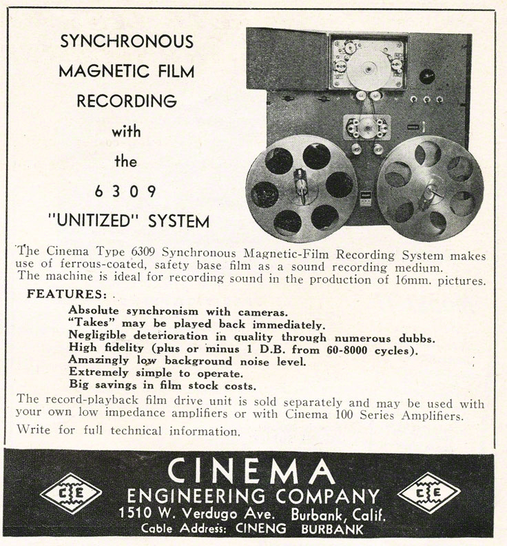 1948 Cinema Engineering ad  in Reel2ReelTexas.com's vintage recording collection