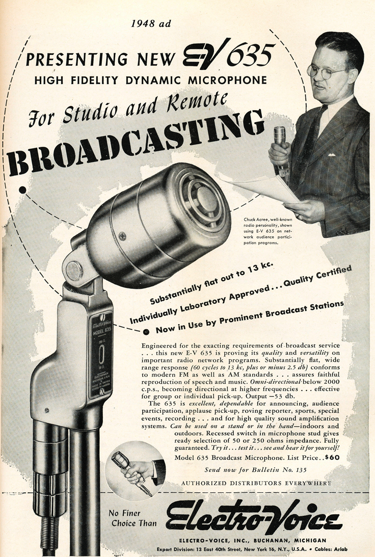 1948 Electro Voice 635 microphone ad  in Reel2ReelTexas.com's vintage recording collection