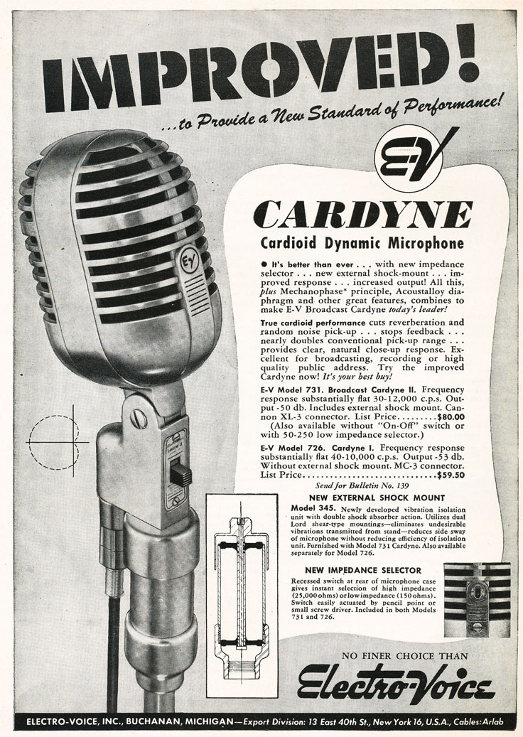 1948 Electro Voice Cardyne microphone ad  in Reel2ReelTexas.com's vintage recording collection