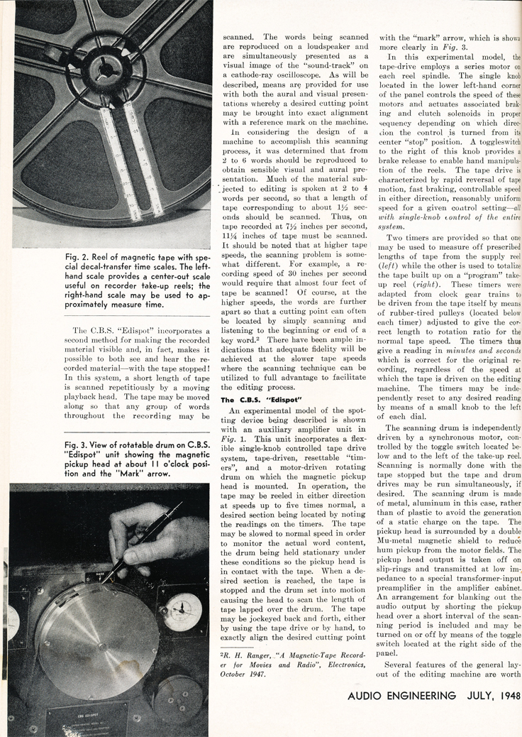 1948 article on editing on  reel to reel tape recorder in Reel2ReelTexas.com's vintage recording collection