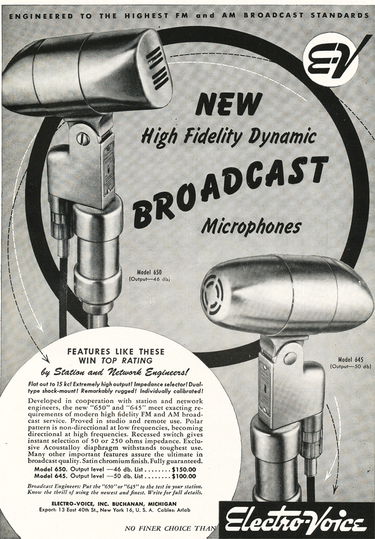 1948 ad for the Electro Voice 645 and 650 microphones in Reel2ReelTexas.com's vintage recording collection