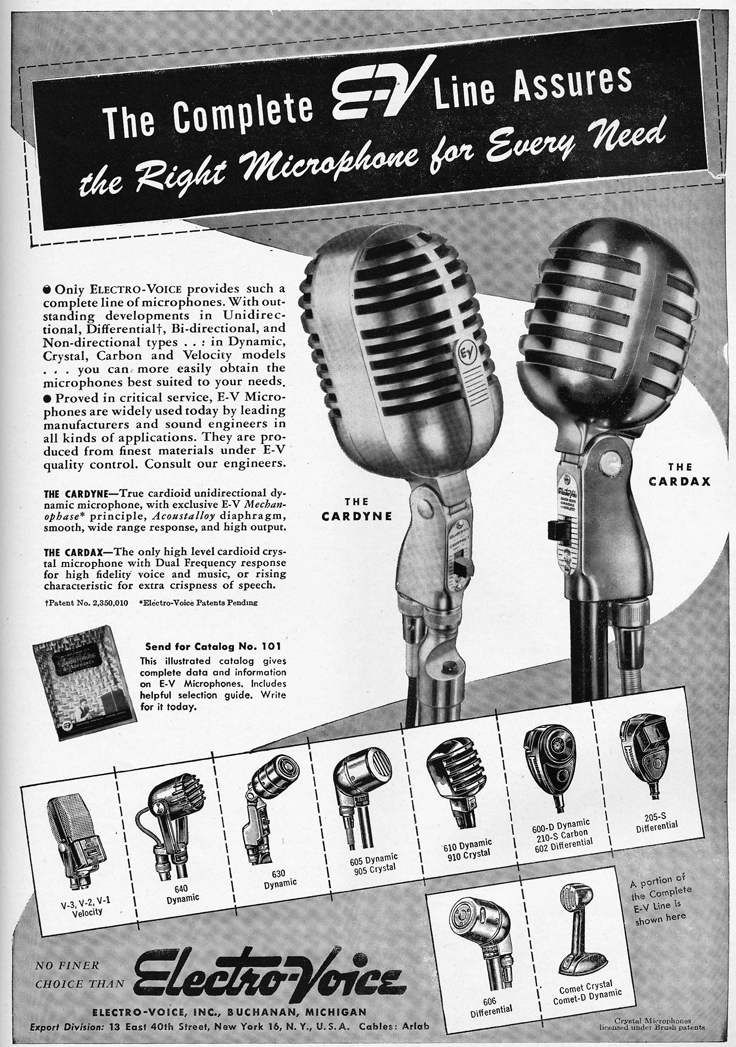 1948 Electro Voice Cardyne and Cardax  microphone ad  in Reel2ReelTexas.com's vintage recording collection