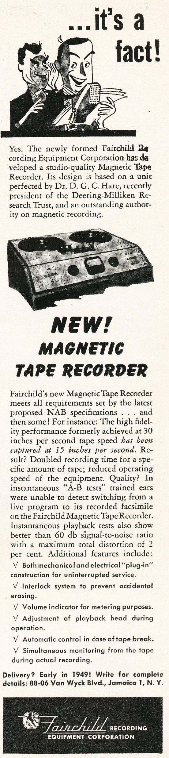 1948 Fairchild ad  in Reel2ReelTexas.com's vintage recording collection