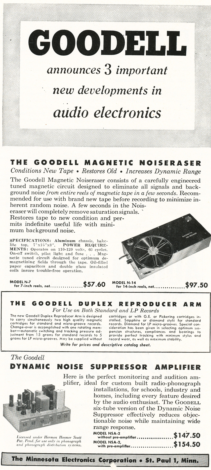 1948 ad for the Goodell AMagnetic Noise Eraser in Reel2ReelTexas.com's vintage recording collection