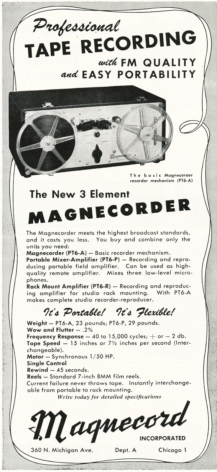1948 ad for the Magnecord PT-6 professional reel to reel tape recorder in Reel2ReelTexas.com's vintage recording collection