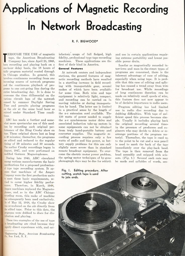 1948 article on magnetic recording featuring ABC's use of the Ampec 200A professional reel to reel tape recorder in Reel2ReelTexas.com's vintage recording collection