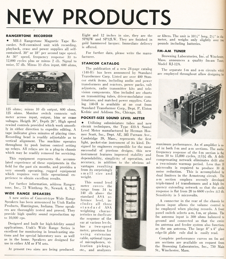 1948 listing of new audio products in the October 1948 issue of the Audio Engineering magazine in Reel2ReelTexas.com's vintage recording collection