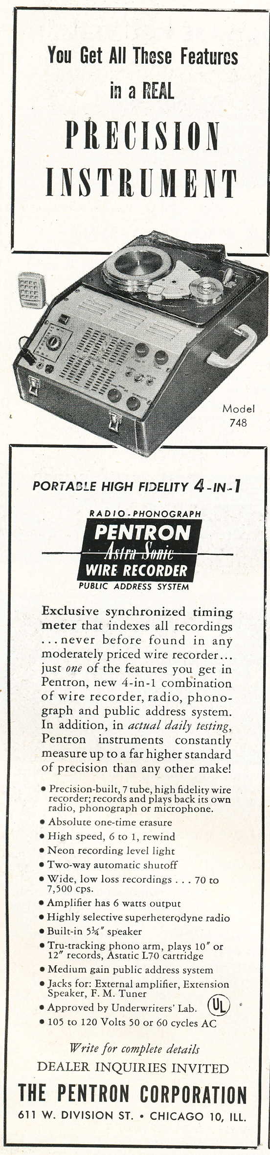 1948 ad for the Pentron wire recorder in Reel2ReelTexas.com's vintage recording collection