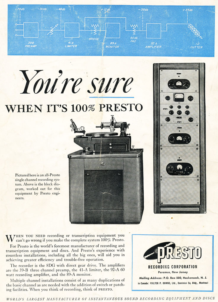 Presto ads from 1948 in the Museum of Magnetic Sound Recording