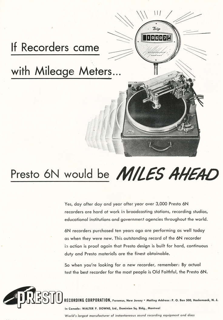1948 ad for the Presto 6N record cutter in Reel2ReelTexas.com's vintage recording collection