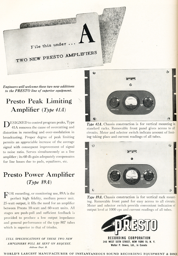 1948 ad for the Presto recording amplifiers in Reel2ReelTexas.com's vintage recording collection