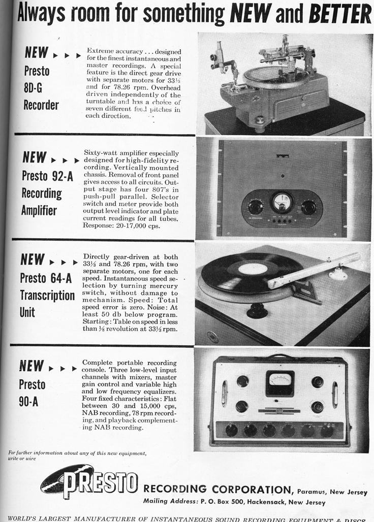 1948 ad for the Presto ecord cutting equipment in Reel2ReelTexas.com's vintage recording collection