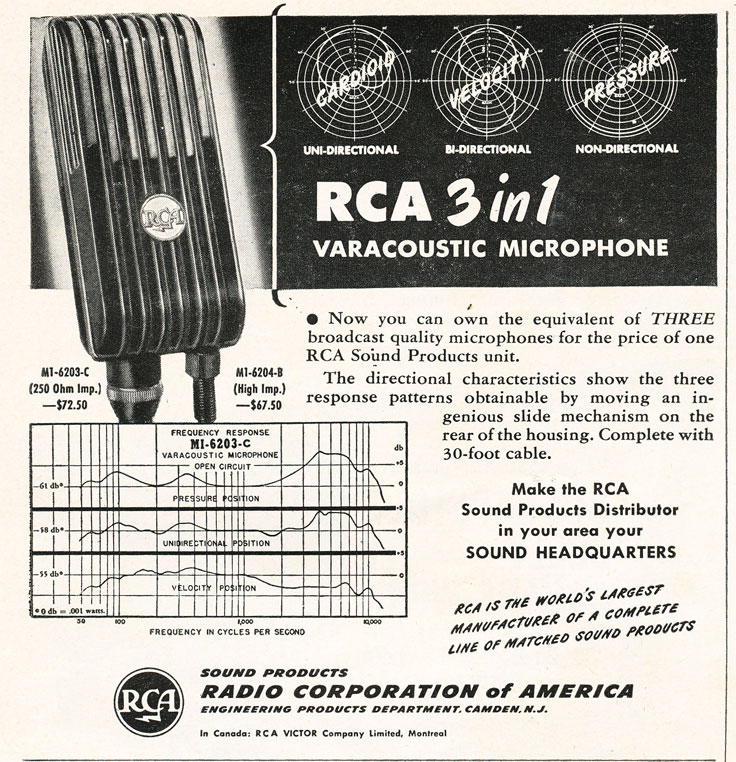 1948 RCA Varacoustic microphone ad  in Reel2ReelTexas.com's vintage recording collection