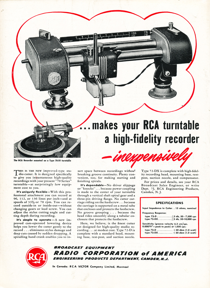 1948 ad for RCA audio products in Reel2ReelTexas.com's vintage recording collection