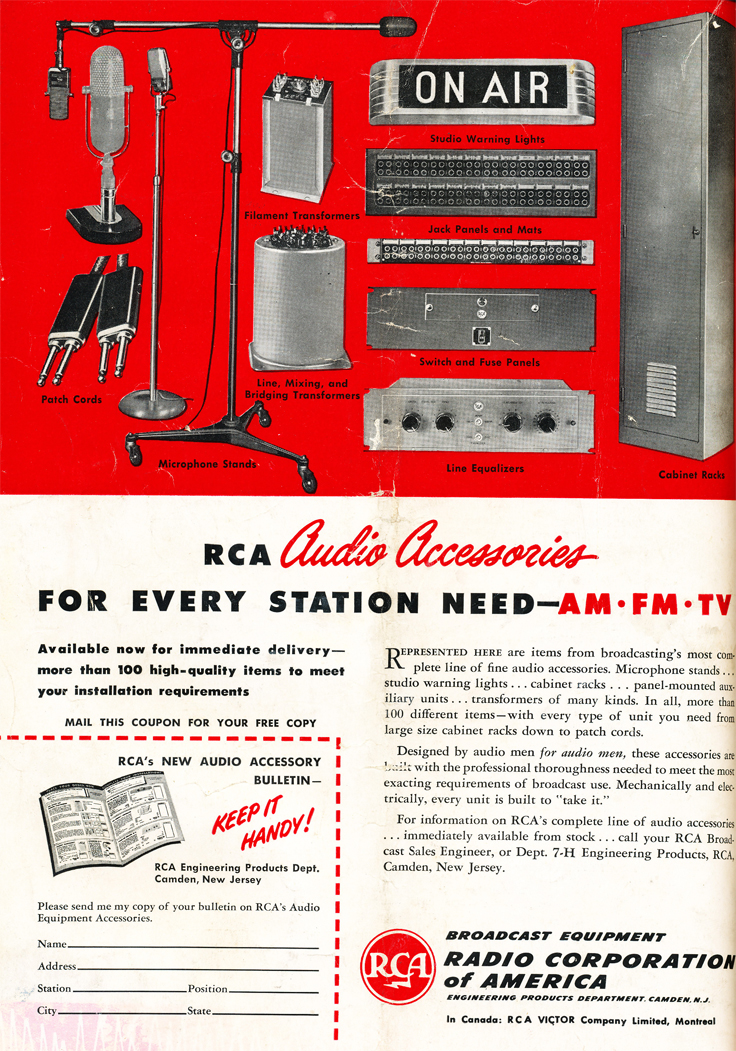1948 ad for RCA audio and recording  products in Reel2ReelTexas.com's vintage recording collection
