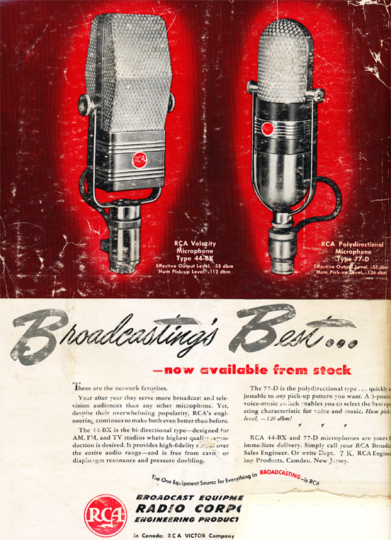 1948 ad for the RCA 44 BX and 77 D microphones  in Reel2ReelTexas.com's vintage recording collection