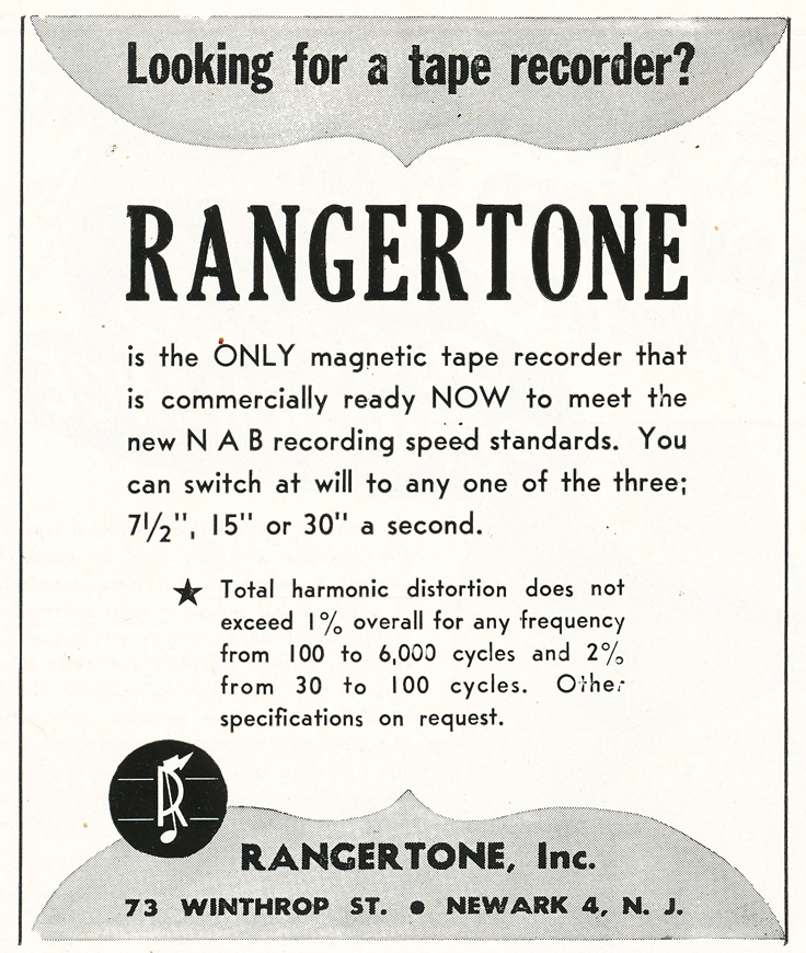 1948 Rangertone reel to reel tape recorder ad in Reel2ReelTexas.com's vintage recording collection